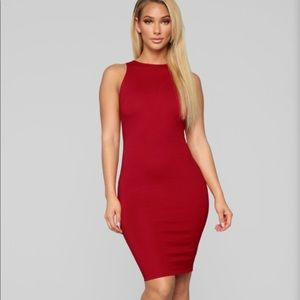 Hot Kiss Dark Red Bodycon Dress